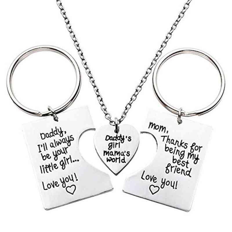 3pcs/set Love Necklace, Titanium Steel With Simple Key Rings
