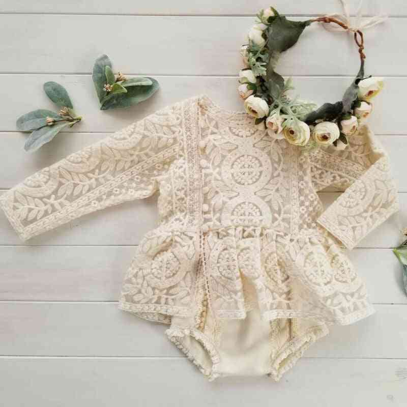 Newborn Baby Girl Sleeveless/long Sleeve Lace Romper Jumpsuit Tutu Dress Outfits Clothes