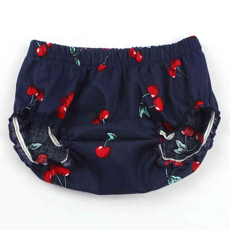 Baby Girl Cotton Cherry Pattern Ruffle Diaper Cover - Baby Bloomers Cotton Shorts Clothes
