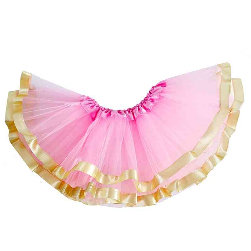 3 Layers Tutu Skirt With Gold Rickrack For Newborn Baby Girl