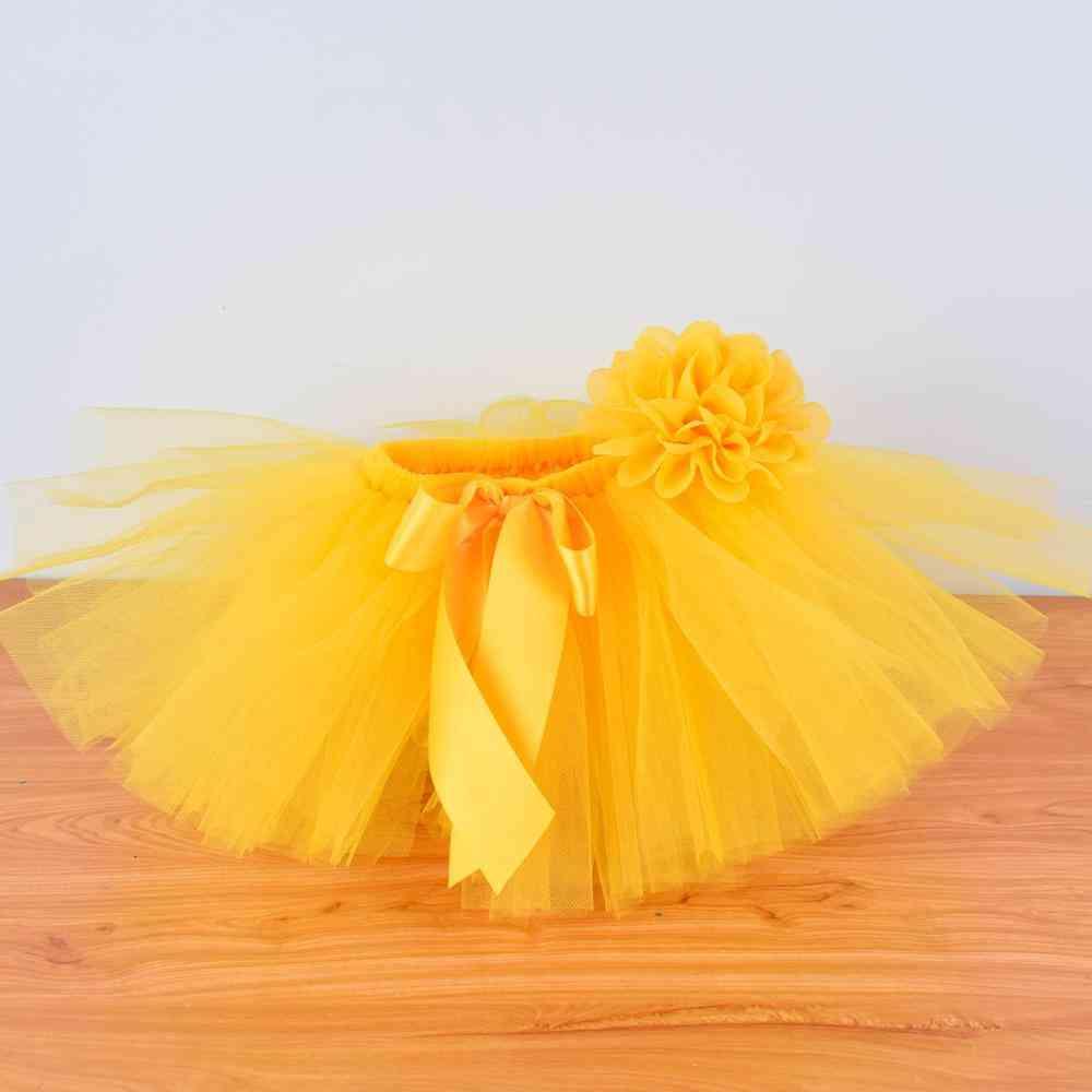 Yellow Baby Fluffy Tutu Skirt & Headband Set, For 0-12m