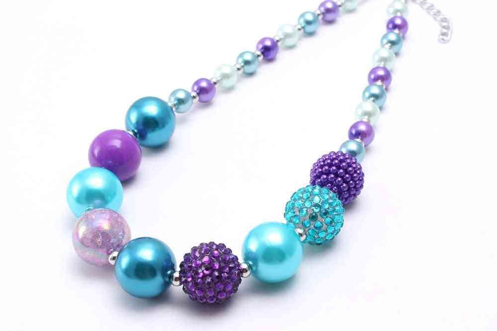 Chunky Bubblegum Beaded Necklace - Adjustable Rope Chain