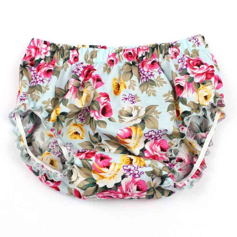 Baby Floral Cotton Bloomers- Little Girl Pp Shorts