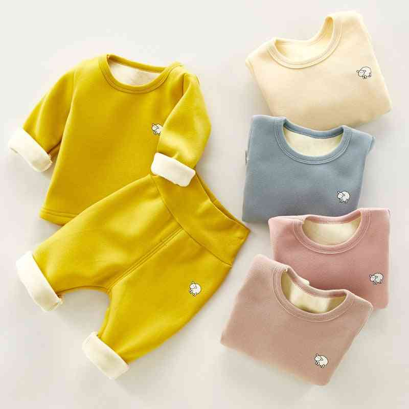 Winter Plush, Thick Warm Pajamas And Long Sleeve Top-casual Suits For Kids