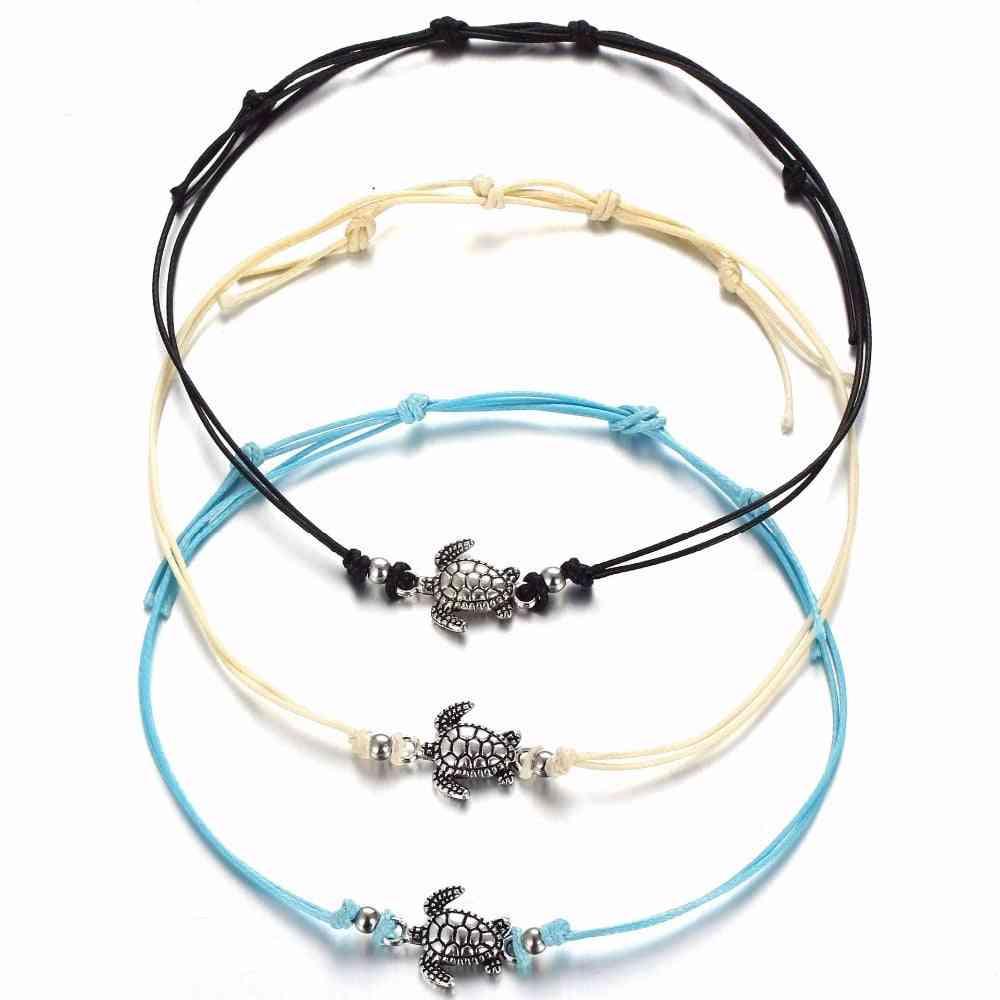 Antique Silver Sea Turtles Bracelets For Women, Men, Kids