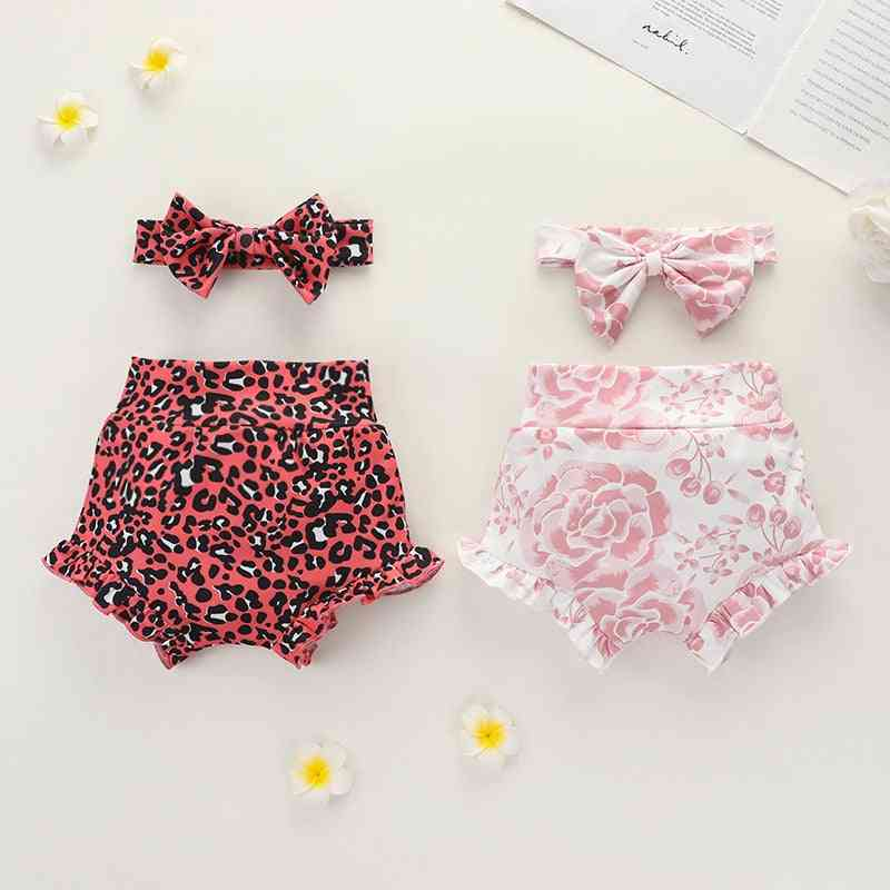 Ruffles High Waist, Leopard/floral Print Shorts And Headband For Newborn