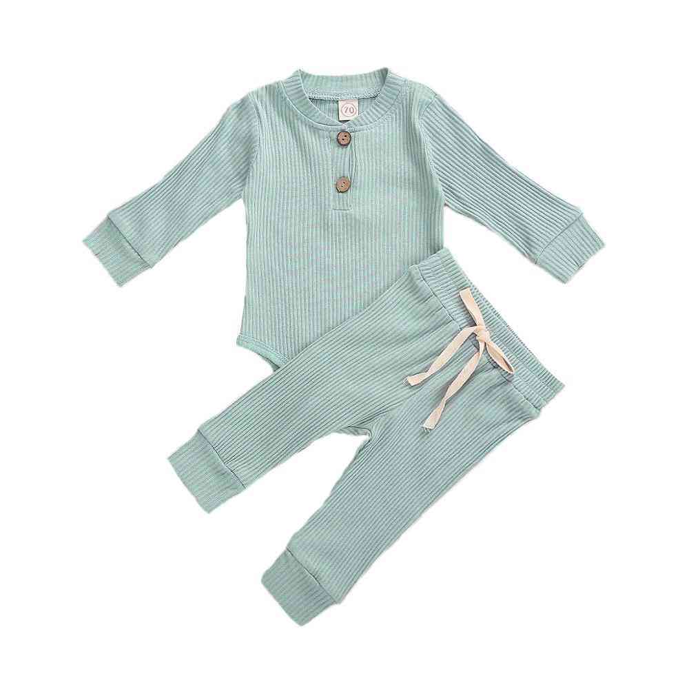 Newborn Baby Spring, Autumn Ribbed Solid Clothes Sets - Long Sleeve Bodysuits + Elastic Pants Outfits