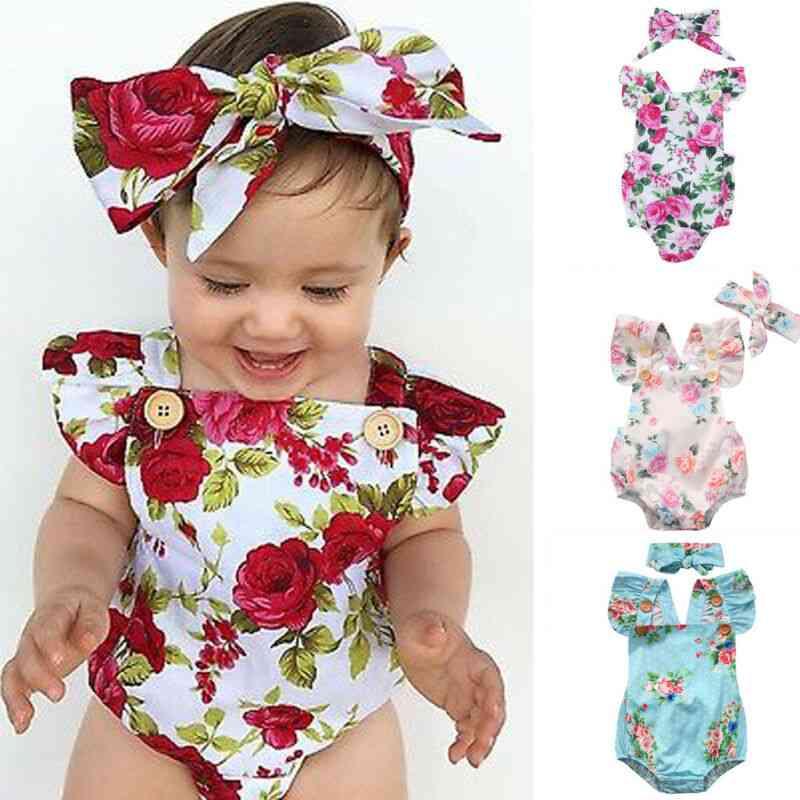 Cute Floral Jumpsuit Romper + Headband, Outfits Set