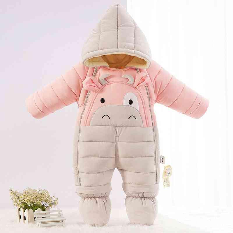 Cartoon Bear Winter Clothes, Baby Jumpsuit Kids Girl Coat- Infant Snowsuit Boy Snow Wear Clothing