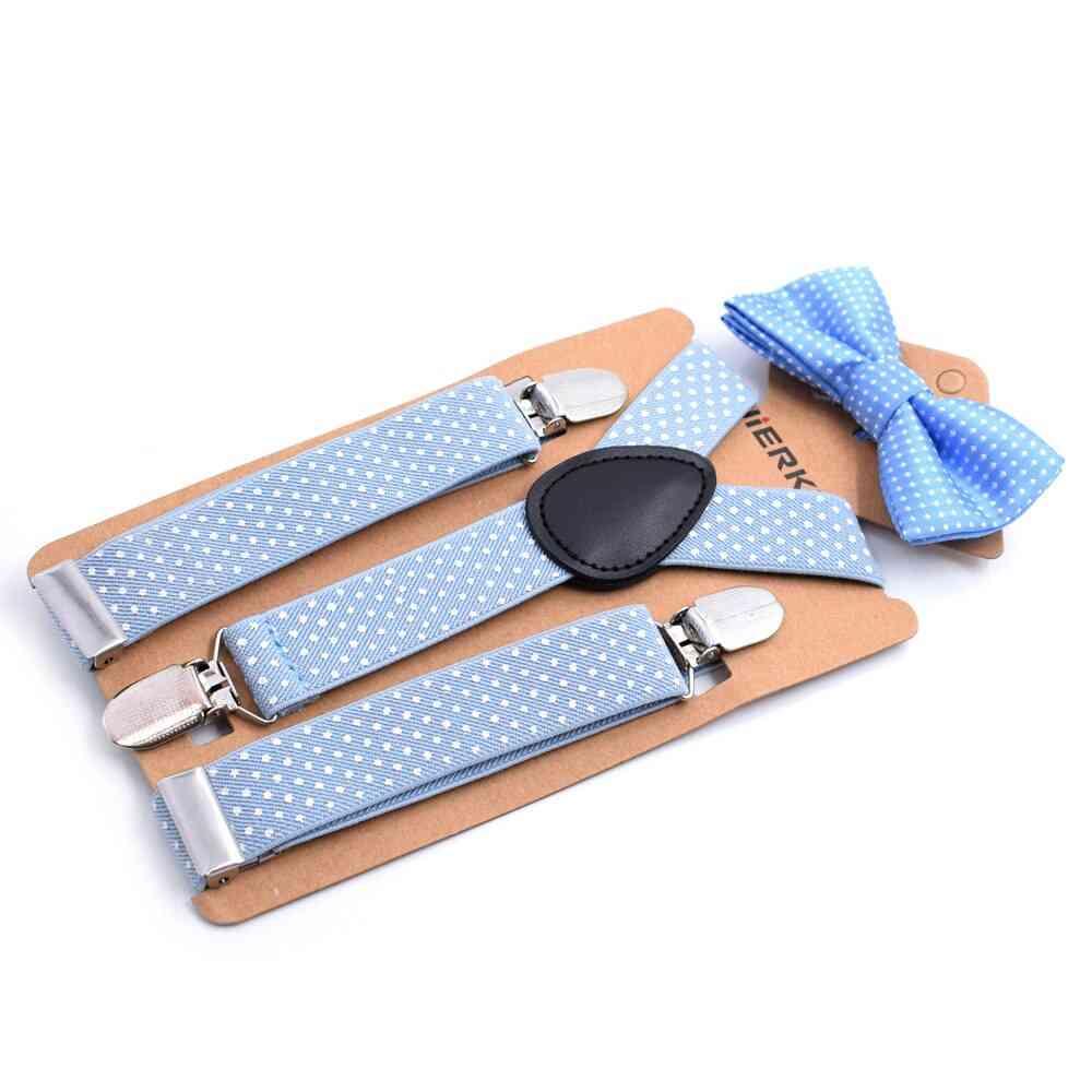 Girl / Boy Polka Dot Suspender Clip With Bow Tie Set
