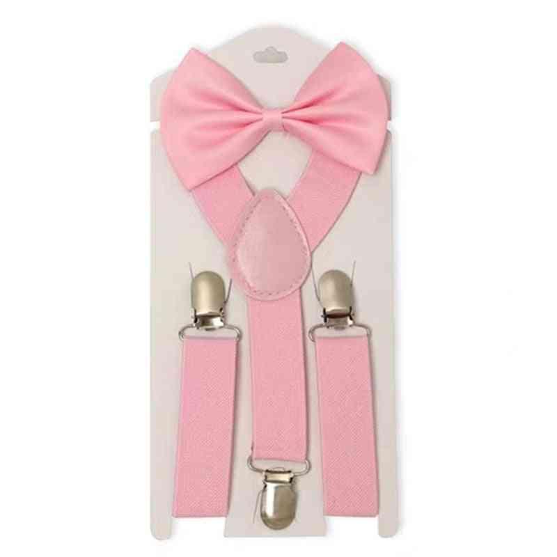 Children Belt Bowtie Set- Baby / Suspenders Clip-on Y-back Braces Bow Tie