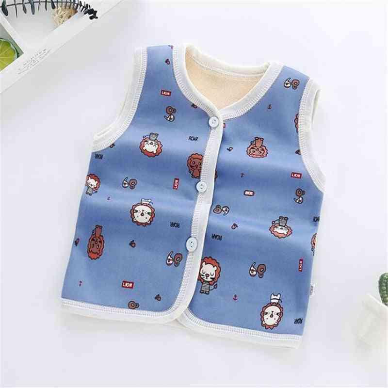 Newborn Baby Warm Thick Vest, Cute Cartoon Clothes, Winter Outwear Coat