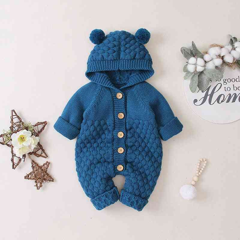 Romper Jumpsuit, Hooded Knit - Autumn Jacket For Baby Girl