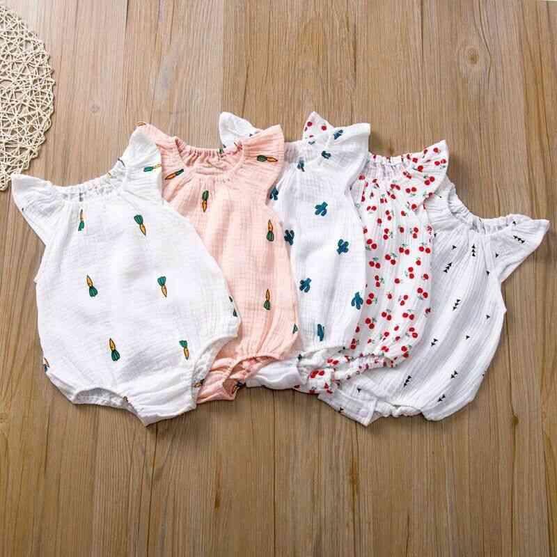 Baby Romper, Cotton Newborn Sleeveless Jumpsuit