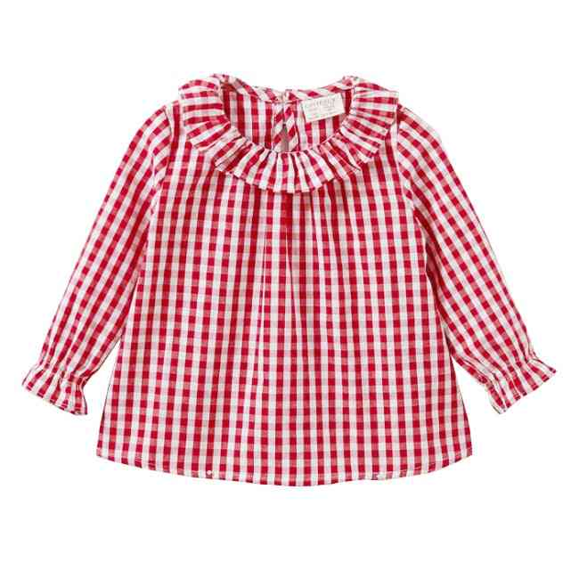 Plaid Cotton Princess Long Sleeve Shirts - Casual Tops