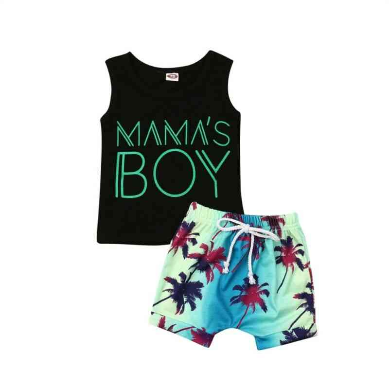 Mama's Boy Letter Printed, Sleeveless Tank Top And Shorts-beachwear For Kids