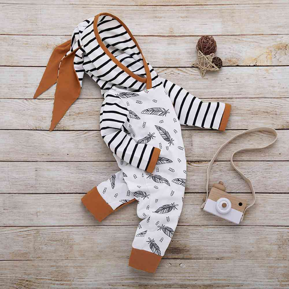 Newborn Kids Clothes- Feather T Shirt, Tops, Strip Pants