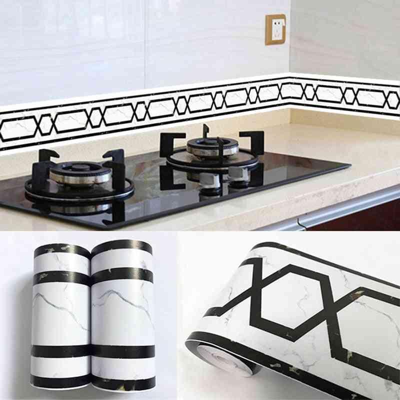 Self-adhesive 3d Geometric Marble Texture Wall Borders, Wallpaper
