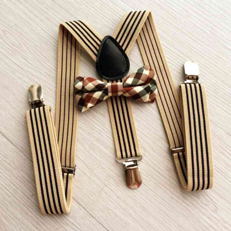 Adjustable Neck Size, Striped Strap With Plaid Bow Tie For Kids