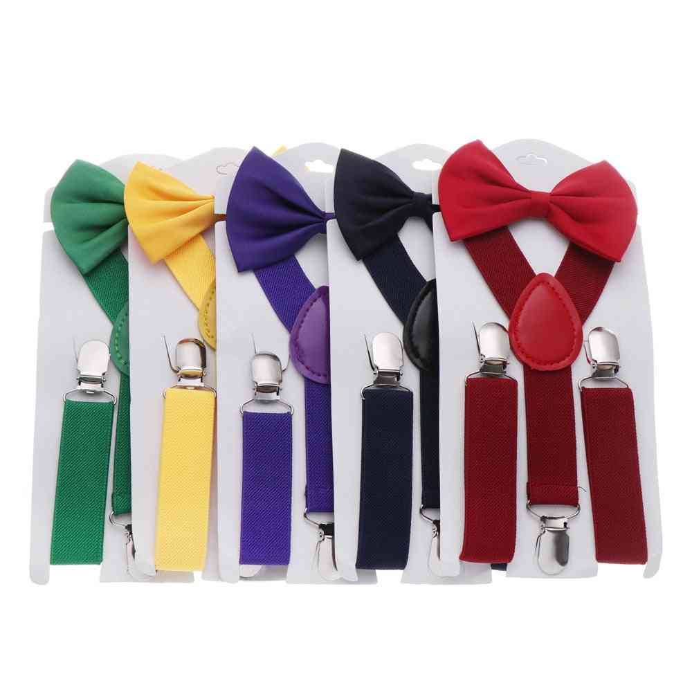 Adjustable Elastic Suspenders And Bow Tie For