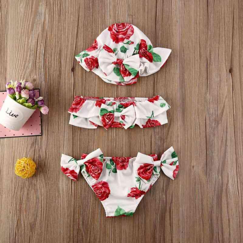 Flower Print 3pcs Bikini Set For Baby