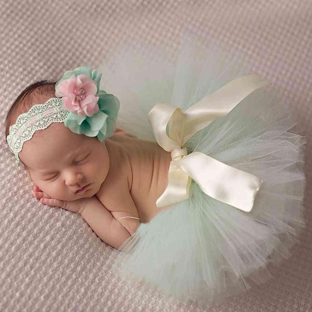 Beautiful Baby Tutu Skirt With Flower Headband, Fashion Newborn Photograph Prop