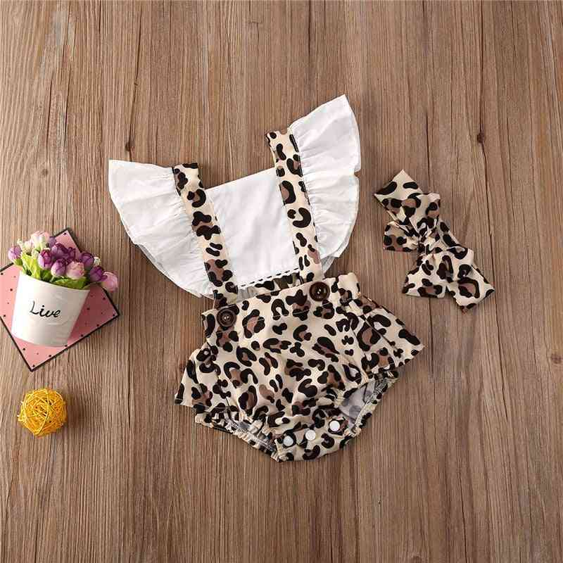 Leopard Print, Backless Ruffle Bodysuit And Headband For Baby