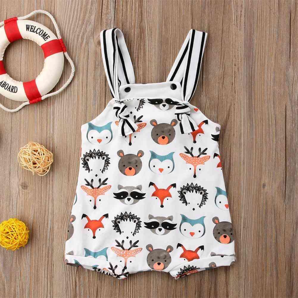 Summer Newborn Baby Girl / Strappy Romper, Jumpsuit / Bodysuit Sleeveless Clothes Cartoon Animals Print