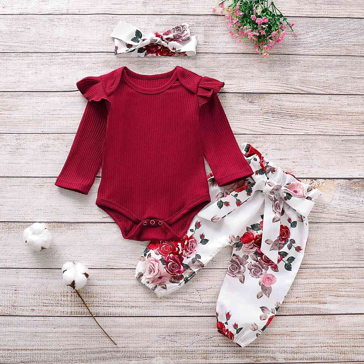 Newborn Baby Girl Clothes Knitting Cotton Long Sleeve Romper Tops Flower Print Pants Headband Outfits