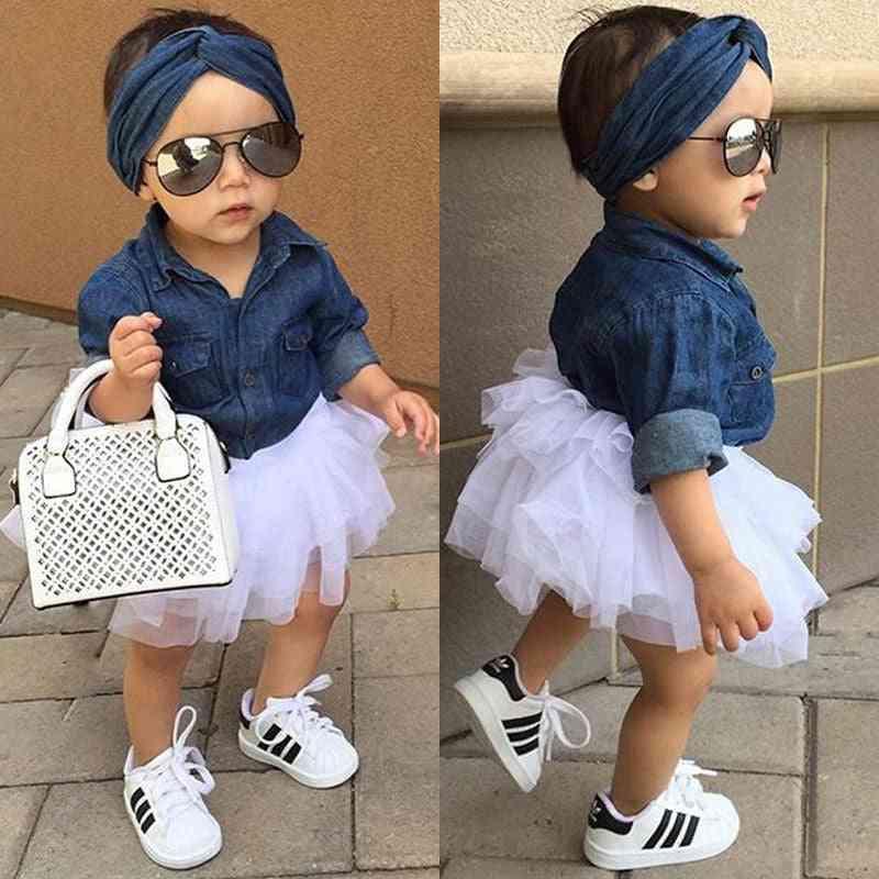 Baby Girl Summer Clothing, Denim Shirt Top, Tutu Skirts & Headband Outfits Sets