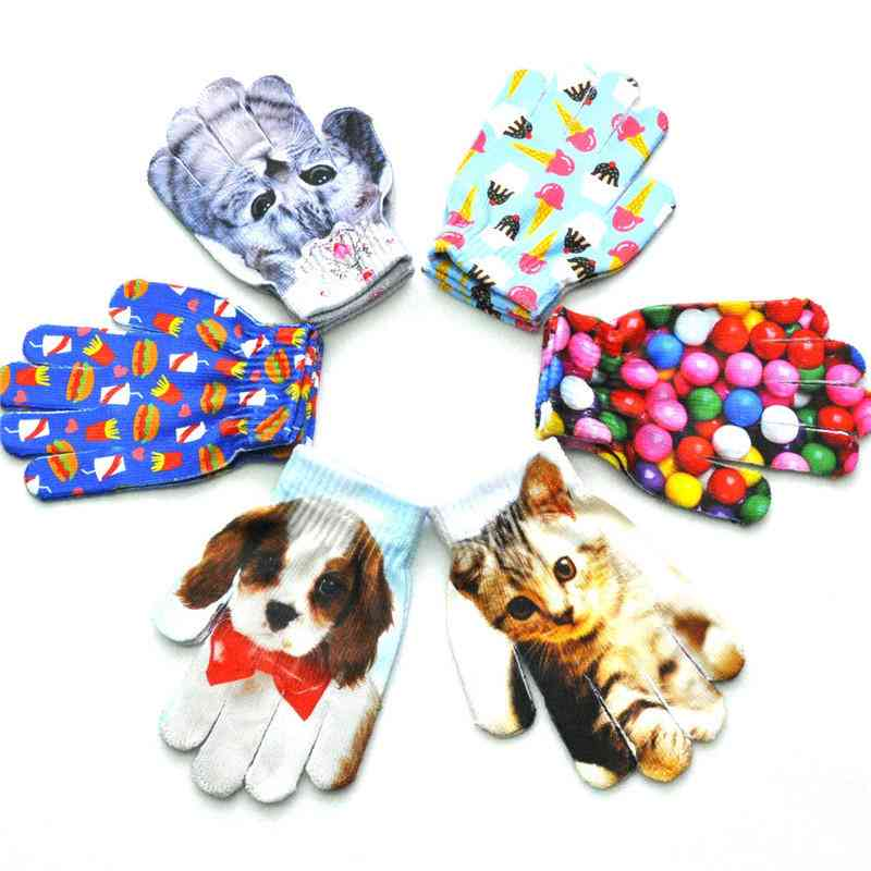 3d Animal Print Painted Knit - Winter Warm Gloves For Newborn Baby