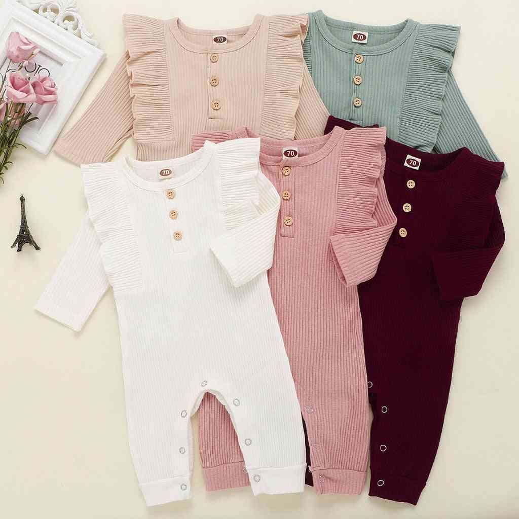 Baby Autumn Winter Clothing Newborn Girl Boy Ribbed Clothes Knitted Cotton Romper Jumpsuit Solid Outfits