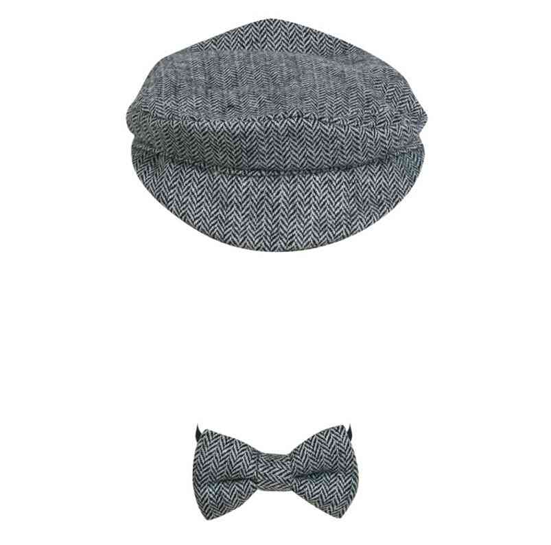 Newborn Baby Peaked Beanie Cap Hat + Bow Tie -photography Prop Outfit Set