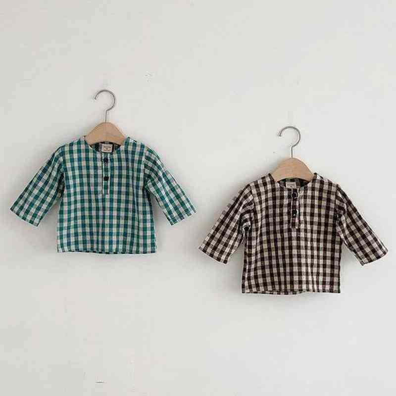 Newborn Baby Cotton Long Sleeve Tops, Plaid Shirts Clothing