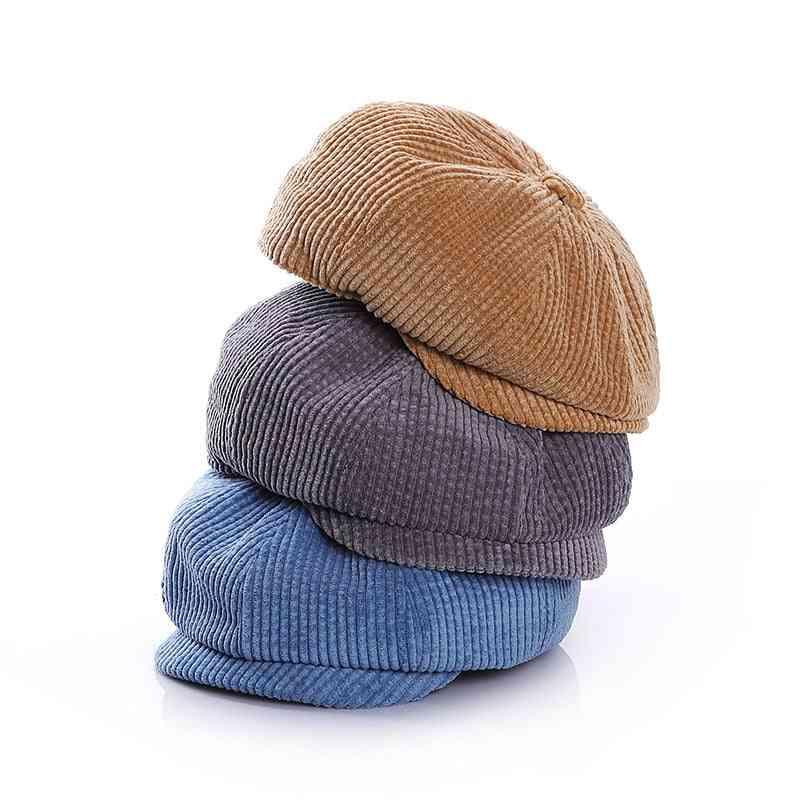 Boys Corduroy Newsboy Baby Cap - Autumn Winter Baby Boy Hat