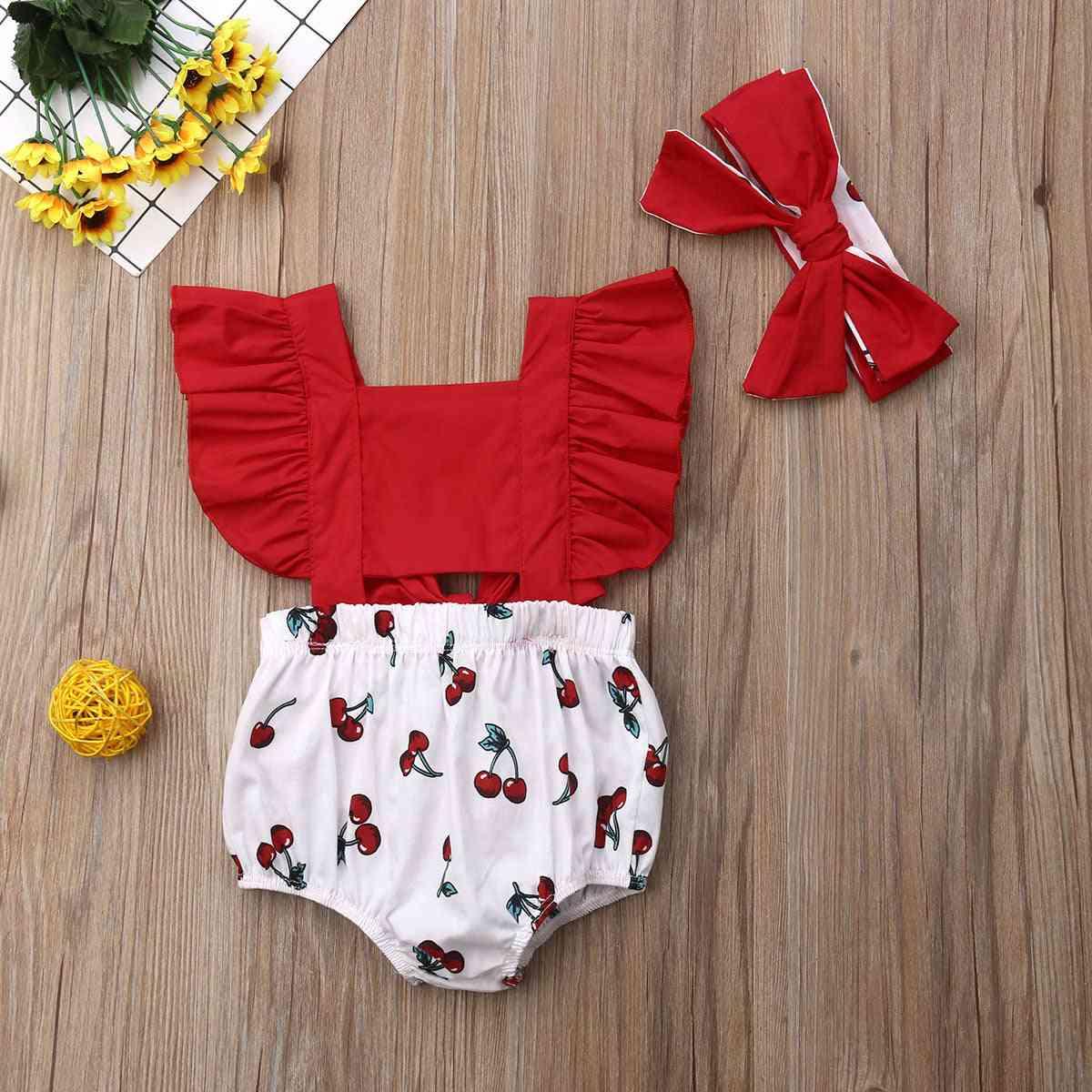 Newborn Baby Girl Ruffle Cherry Print Bodysuits Headband Sunsuit Outfits Summer Clothe