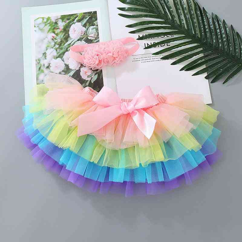 Baby Bloomers, Infant Newborn Rainbow Skirt Diapers Cover Set
