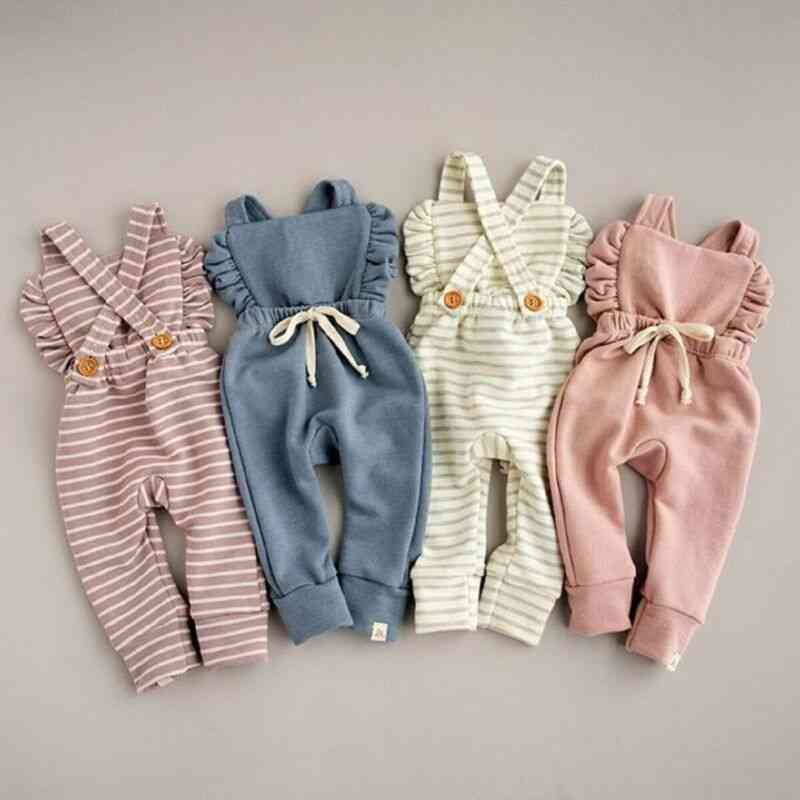 Newborn Baby Girl Stripe Romper, Overalls Pants Cotton Soft Outfit Clothes Suit