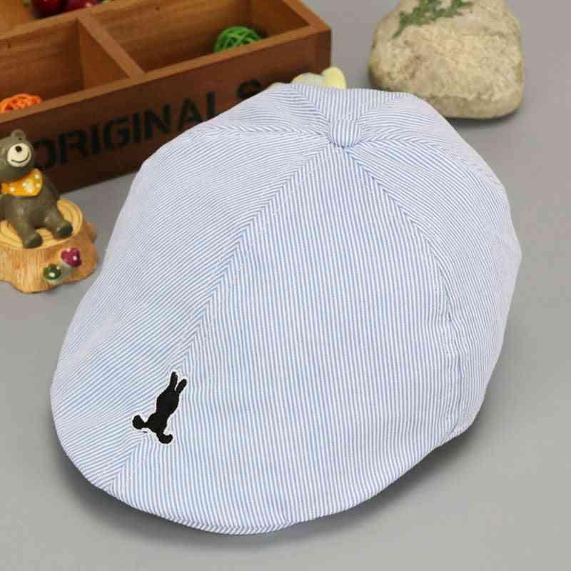 Baby Cotton Beret Hat, Baby Cap Summer, Autumn Denim Jean Stripe Flat Caps