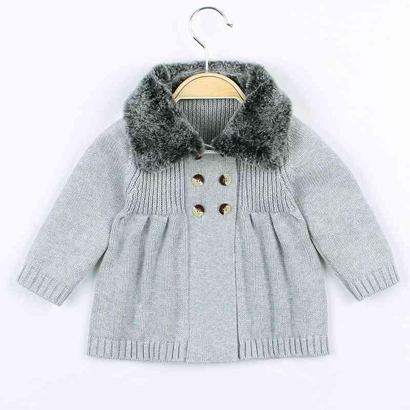 Baby Cardigan Autumn Winter Fur Collar Knitted Sweater Jacket Coat