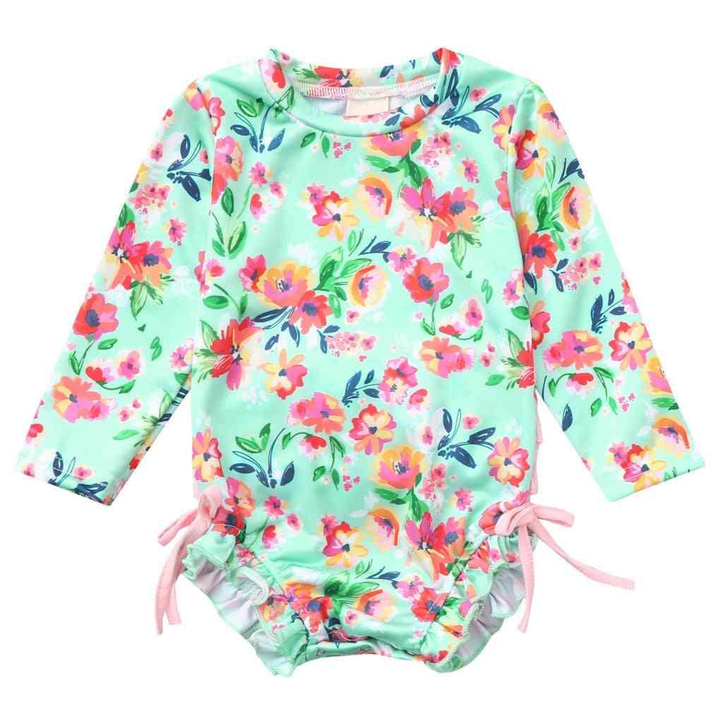 Floral Printed, Long Sleeve Bikini Swimsuit For Kids