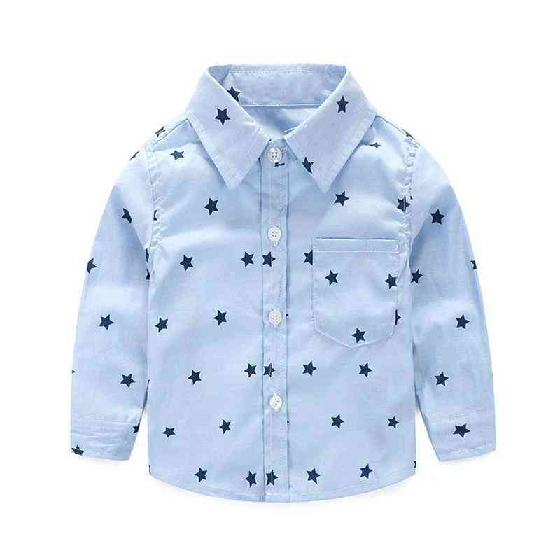 Summer Stars Prints, Casual Long Sleeve Shirts For Infant Baby Boy