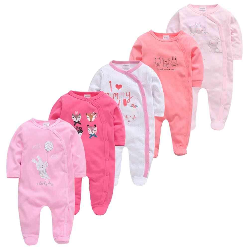 Newborn Girl Boy Cotton Sleepers, Breathable & Soft Rope Pajamas