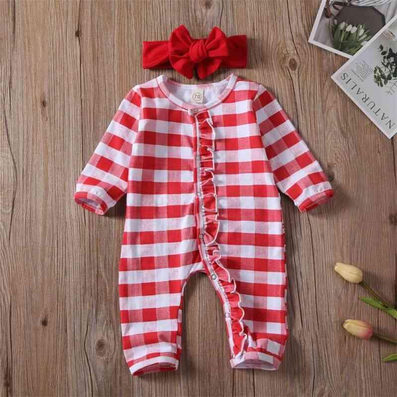 Newborn Baby Boy Girl Christmas Romper Striped Pajama Clothes Outfit Sleepwear
