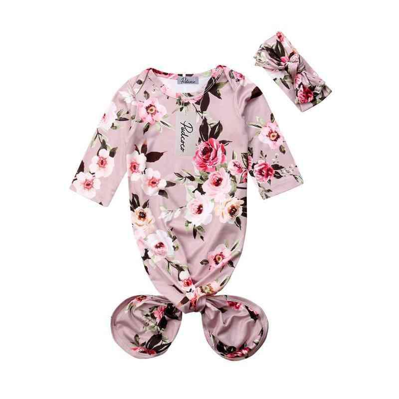 Newborn Baby Girl Sleeping Sleepwear, Robes Swaddle & Headband