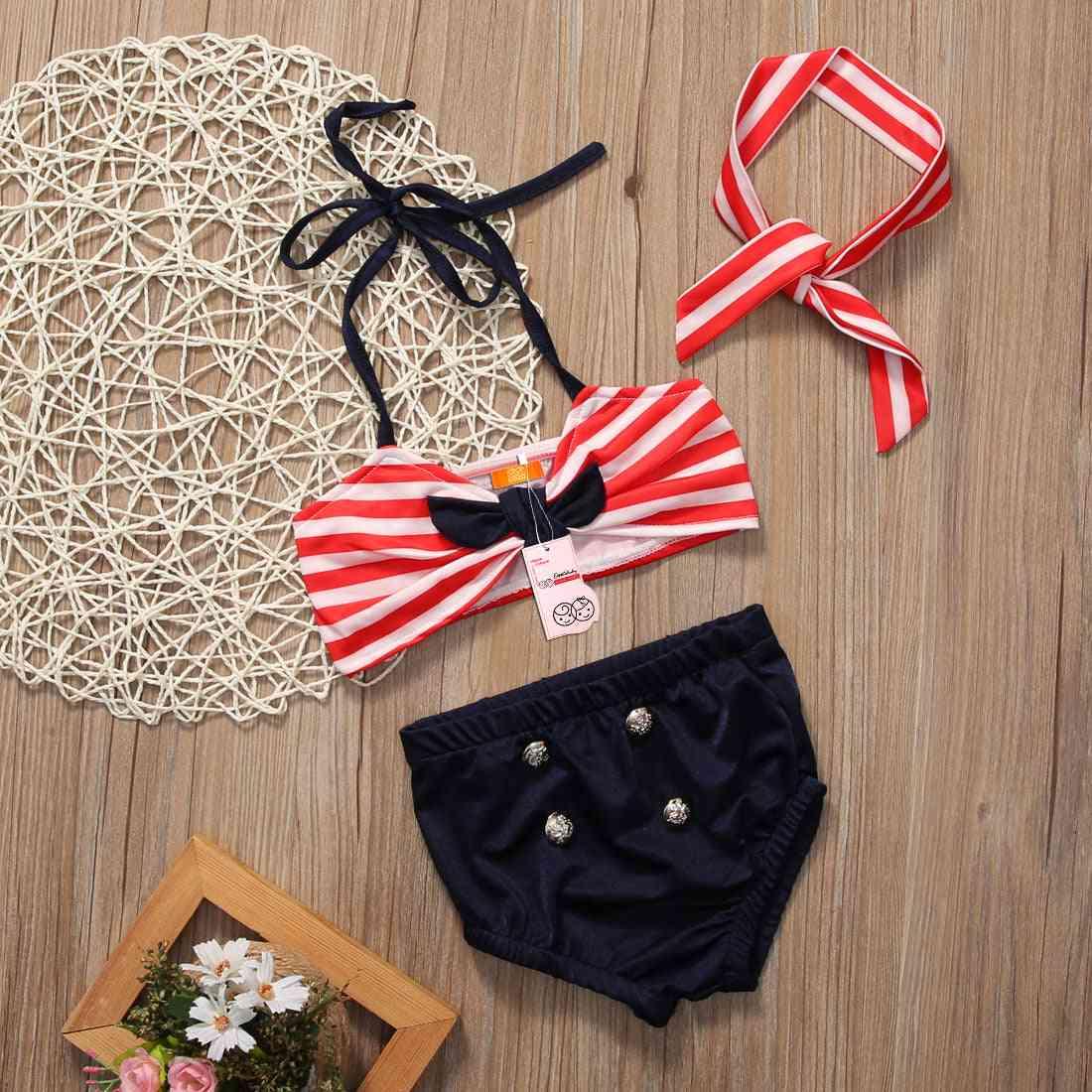 Baby Bikini 2 Piece Set - Kids Striped Swimwear Bathing Suit