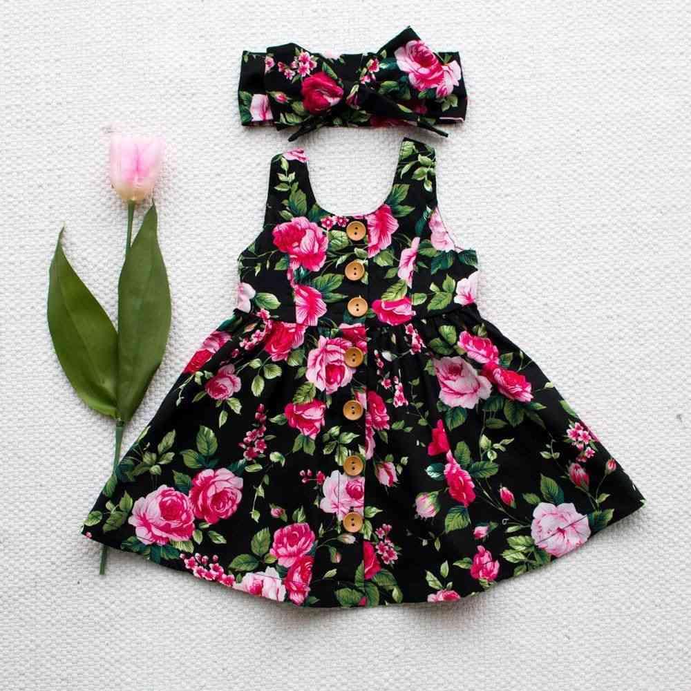 Autumn Long Sleeve -  Button Floral Girl's Dress