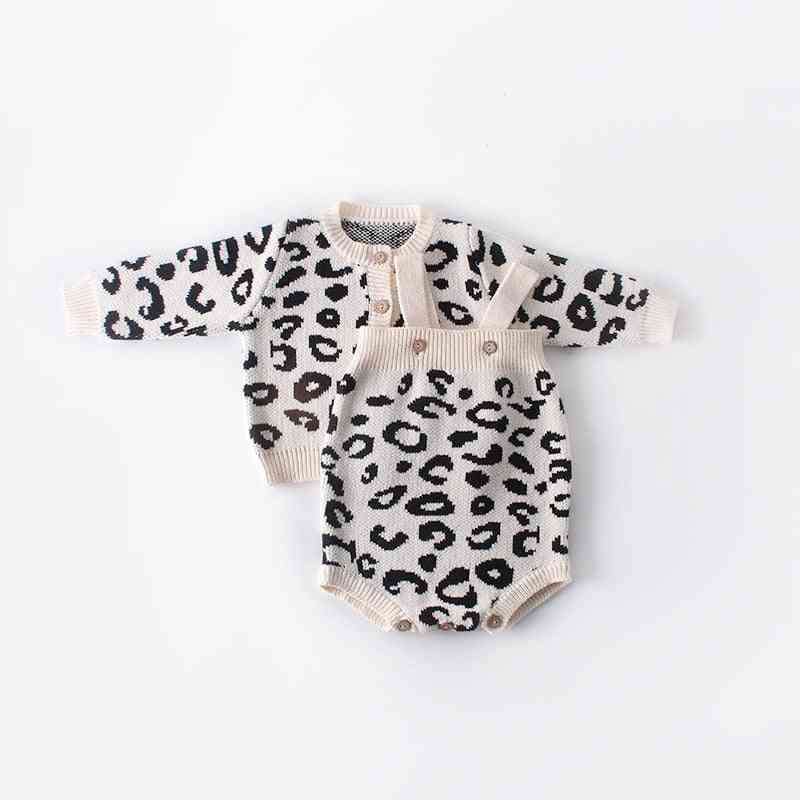 Newborn Infant Kids Leopard Print Sweater / Coat, Outfits Sleeveless Romper Clothes