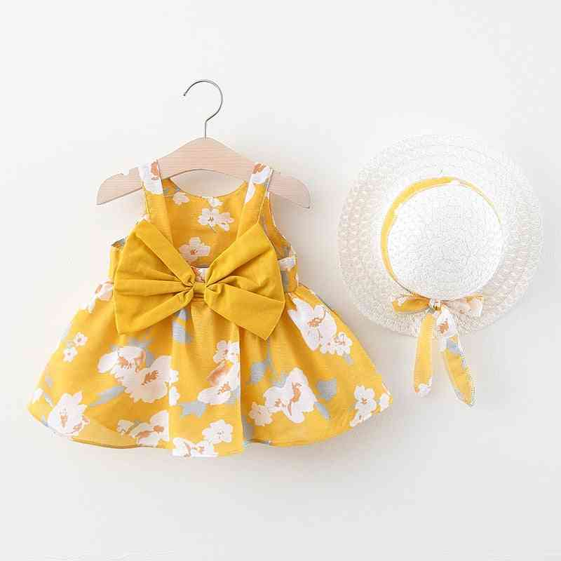 Summer Bow Design, Floral Print Dress With Hat For Small Kids