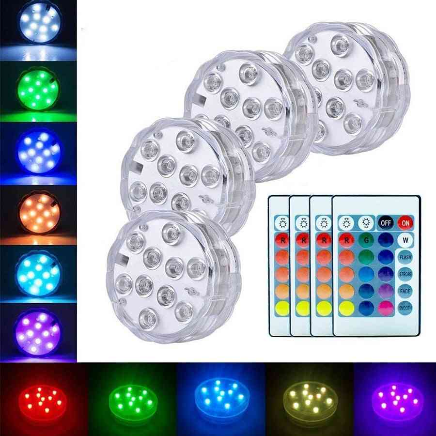 10leds Rgb Underwater Waterproof - Battery Operated Pond Swimming Pool Lights